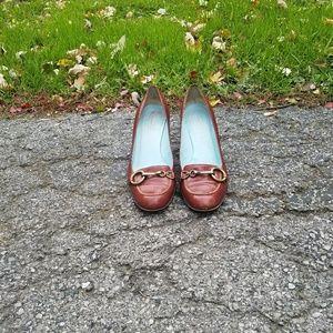 Dark maroon Coach high heeled shoes with buckle